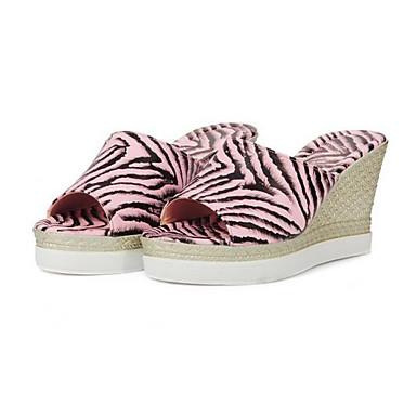 Kadın's Ayakkabı PU Yaz Sandaletler Dolgu Topuk Günlük için Altın / Beyaz / Pembe