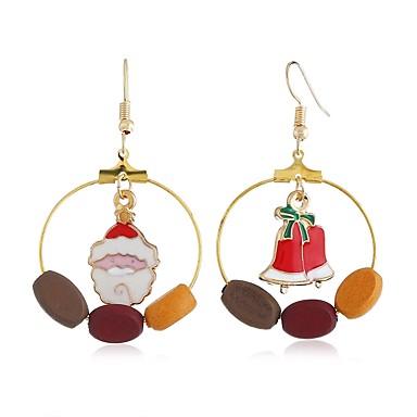 זול עגילים אופנתיים-בגדי ריקוד נשים עגילים לא תואמים לא תואם חליפות סנטה פעמון נשים פשוט מתוק עגילים תכשיטים זהב עבור חג מולד יומי זוג 1