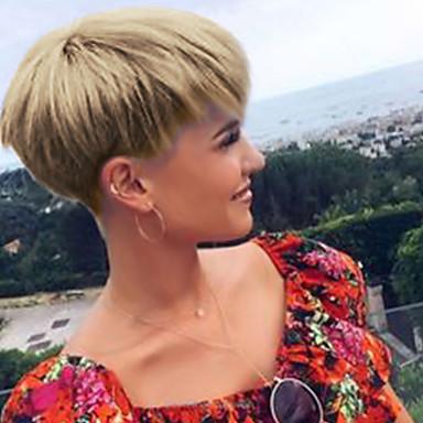 povoljno Perike i ekstenzije-Ljudski kose bez kaplama Ljudska kosa Ravan kroj Pixie frizura / Kratke frizure 2019 Stil Prirodna linija za kosu Kratko Machine Made Perika Žene
