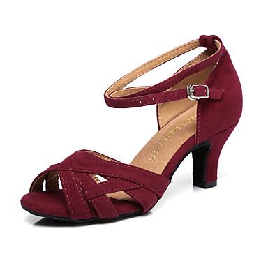 baratos Shall We® Sapatos de Dança-Mulheres Camurça Sapatos de Dança Latina Recortes Salto Salto Carretel Vermelho Escuro / Verde / Espetáculo / Ensaio / Prática
