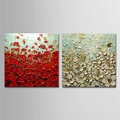 Hang oslikana uljanim bojama Ručno oslikana - Sažetak Cvjetni / Botanički Moderna Uključi Unutarnji okvir / Prošireni platno