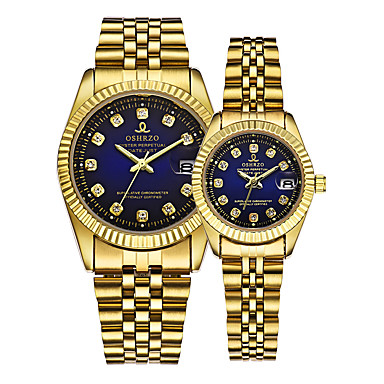 baratos Relogio Dourado-Casal Relógio de Pulso Relogio Dourado Quartzo Coincidindo Ele e ela Dourada 30 m Calendário Criativo Analógico Luxo Elegante - Dourado