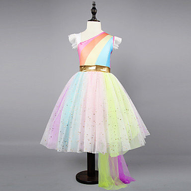 cheap Kids' New Arrivals-Kids / Toddler Girls' Active / Sweet Party / Holiday Rainbow Sleeveless Asymmetrical Dress Rainbow