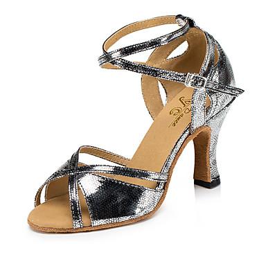 Žene Plesne cipele Eko koža Cipele za latino plesove MiniSpot / Isprepleteni dijelovi Štikle Deblja visoka potpetica Zlato / Tamno siva / Bijela / srebrna / Seksi blagdanski kostimi / Vježbanje