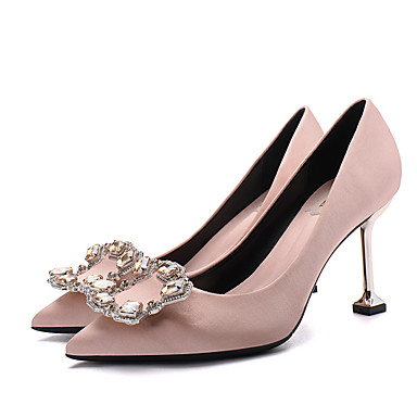 95e56dbcc4f Women s Pumps Satin Spring   Fall Sweet   Minimalism Wedding Shoes Stiletto  Heel Pointed Toe Rhinestone. cheap Wedding Shoes-Women  039 s ...