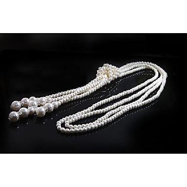 Dame Multi Layer lagdelte Hals Lang Halskjede Imitert Perle trendy Overdrivelse Smuk Hvit 110 cm Halskjeder Smykker 1pc Til Klubb Festival