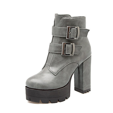 Fall & Winter Boots Chunky Heel Round Toe Booties/Ankle Boots Buckle Black/Gray Polyurethane Womens Combat Boots PU Red