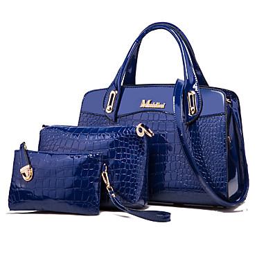 preiswerte Taschen-Damen Niete / Reißverschluss Bag Set Lackleder Volltonfarbe 3 Stück Geldbörse Set Blau / Schwarz / Rote / Schlangenhaut / Herbst Winter