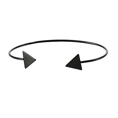 abordables Bracelet-Manchettes Bracelets Femme Classique Arrow dames Elégant simple Européen Bracelet Bijoux Dorée Noir Argent Triangle pour Quotidien Sortie