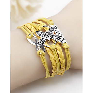 baratos Pulseiras de couro-Mulheres Pulseiras de couro tear Bracelet Entrançado Borboleta senhoras Simples Pele Pulseira de jóias Amarelo / Vermelho / Azul Para Diário