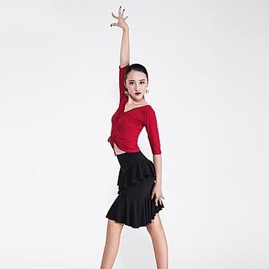 Baile Latino Accesorios Mujer Rendimiento Modal   Cristal algodón Fruncido  Media Manga Cintura Media Faldas   30a45f528f28