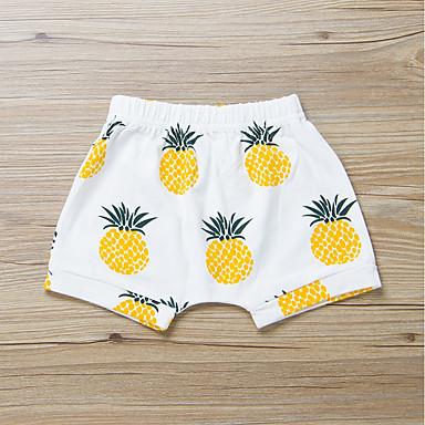 baratos Calças & Leggings para Meninas-Bébé Para Meninas Activo Básico Diário Esportes Ananás Fruta Estampado Algodão Shorts Bege