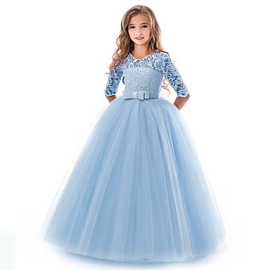 baratos Princesa-Infantil Para Meninas Básico Sólido Manga Curta Vestido Vermelho