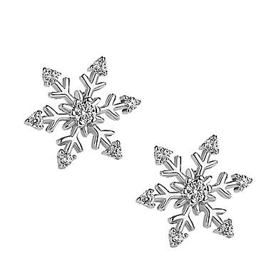 billige Moteøreringer-Dame Øredobber 3D Snøfnugg damer Stilfull Enkel Sølvplett Fuskediamant øredobber Smykker Sølv Til Jul Daglig 1 par