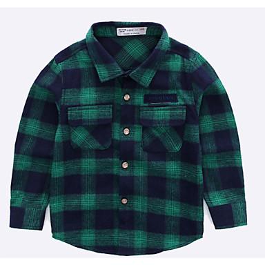 baratos Camisas para Meninos-Infantil Para Meninos Básico Natal Diário Xadrez Manga Longa Padrão Algodão Blusa Verde