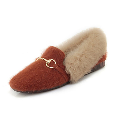 6c34b99598f Women s Faux Fur Spring   Fall Loafers   Slip-Ons Flat Heel Square Toe  Feather Black   Beige   Yellow