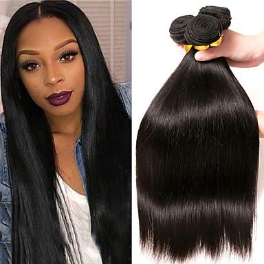 3 paketa Ravan kroj Ljudska kosa Netretirana  ljudske kose Headpiece Ljudske kose plete Styling kose 8-28 inch Prirodna boja Isprepliće ljudske kose Smooth Najbolja kvaliteta Moda Proširenja ljudske