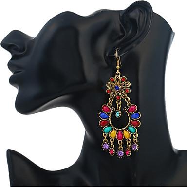Žene Viseće naušnice Cvijet Duga dame Vintage Etnikai afrički Smola Umjetno drago kamenje Naušnice Jewelry Duga / Crvena / Zelen Za Dnevno 1 par