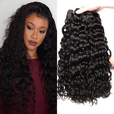 3 paketa Peruanska kosa Water Wave Ljudska kosa Netretirana  ljudske kose Wig Accessories Ljudske kose plete Styling kose 8-28 inch Crna Isprepliće ljudske kose Nježno Svilenkast proširenje / 8A