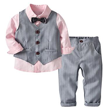 billige Tøjsæt til drenge-Baby Drenge Basale Ensfarvet Langærmet Bomuld Tøjsæt Lyserød