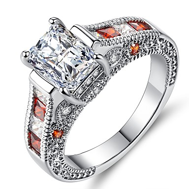Žene Band Ring Zaručnički prsten Kubični Zirconia 1pc Crvena Plastika Titanij Čelik Circle Shape Geometric Shape Vintage Elegantno Vjenčanje Angažman Jewelry Vintage Style Klasičan