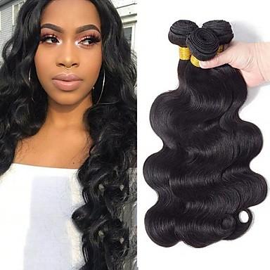 3 paketa Mongolska kosa Tijelo Wave Ljudska kosa Netretirana  ljudske kose Ljudske kose plete Produžetak Bundle kose 8-28 inch Prirodna boja Isprepliće ljudske kose Nježno Najbolja kvaliteta / 8A