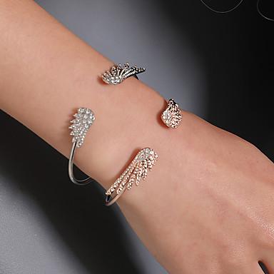 baratos Bangle-Mulheres Pulseiras Algema Clássico Simples Coreano Fashion Imitações de Diamante Pulseira de jóias Dourado / Prata Para Diário Rua