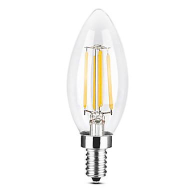 YWXLIGHT® 1pc 4 W LED svjećice LED filament žarulje 300-400 lm E14 C35 4 LED zrnca COB Zatamnjen Toplo bijelo Hladno bijelo 220-240 V