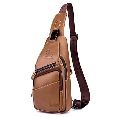af051c07f LAOSHIZI Men s Bags Cowhide Sling Shoulder Bag Zipper Solid Color Black    Coffee   Brown