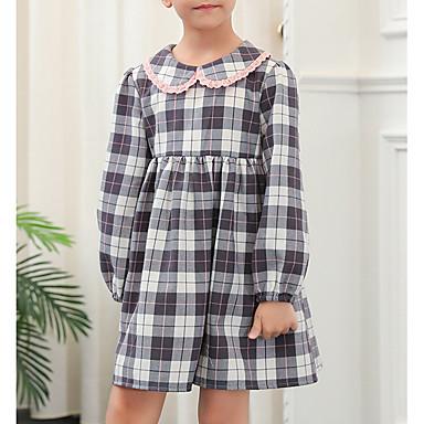 Χαμηλού Κόστους Φορέματα για κορίτσια-Παιδιά Κοριτσίστικα Βασικό Καρό Μακρυμάνικο Φόρεμα Ανθισμένο Ροζ
