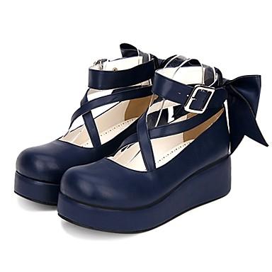 Sweet Lolita Princesa Salto Plataforma Sapatos Côr Sólida 5 cm CM Preto / Tinta Azul / Vermelho Para Mulheres Couro PU / Couro de Poliuretano Trajes da Noite das Bruxas