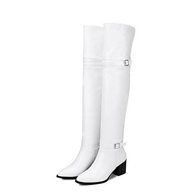 voordelige Dameslaarzen-Dames Laarzen Blokhak Gesloten teen  PU Knielaarzen Winter Zwart / Wit