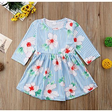 590623b52898 billiga Babyklänningar-Bebis Flickor Aktiv Randig Långärmad Knälång Polyester  Klänning Ljusblå / Småbarn