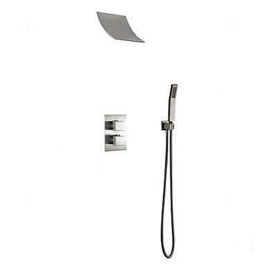 Slavina za tuš - Suvremena Nickel Brushed Zidna ugradnja Brass ventila Bath Shower Mixer Taps / Jedan obrađuju tri rupe