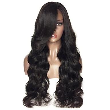 hesapli Güzellik ve Saç-Kökten Saç Ön Dantel Peruk Katmanlı Saç Kesimi Wendy stil Düz Brezilya Saçı Vücut Dalgası Siyah Peruk % 180 Saç yoğunluğu Bebek Saçlı Doğal saç çizgisi Yan Parti işlenmemiş Siyah Kadın's Uzun Gerçek