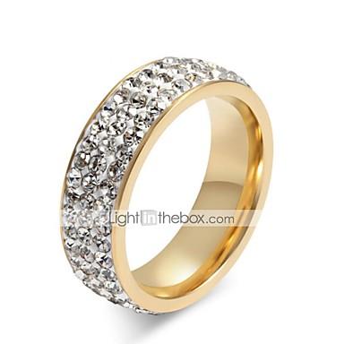 voordelige Dames Sieraden-Dames Bandring Ring Eternity Ring Zirkonia moissanite 1pc Wit Titanium Staal Cirkelvorm Dames Stijlvol Bling bling Bruiloft Lahja Sieraden stack
