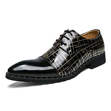 Homens Sapatos formais Couro Sintético Outono Formais Oxfords Preto e Dourado / Branco / Preto / Casamento / Festas & Noite / Festas & Noite