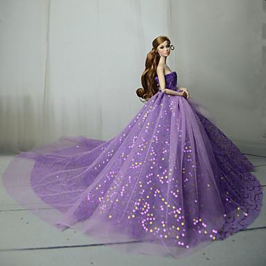 voordelige Poppenaccessoires-Poppenjurk Feest / Avond Voor Barbie Paars Blauw Roze Tule Kant Pailletten Kleding Voor voor meisjes Speelgoedpop