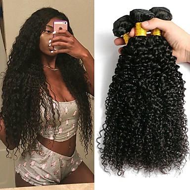 3 paketa Kinky Curly Ljudska kosa Netretirana  ljudske kose Headpiece Ljudske kose plete Styling kose 8-28 inch Prirodna boja Isprepliće ljudske kose Smooth Najbolja kvaliteta Cool Proširenja ljudske