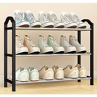 abordables Accessoires pour Chaussures-Cintre & Range Chaussures PVC 3 Niveaux Unisexe Noir