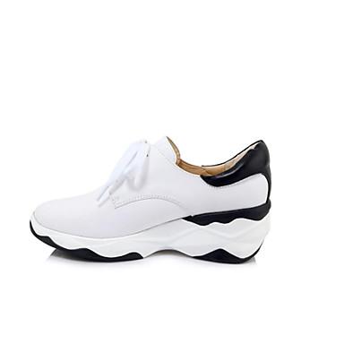 Femme Cuir Nappa Printemps Basket Talon Plat Blanc Blanc Blanc / Noir | D'ornement  c1e8b6