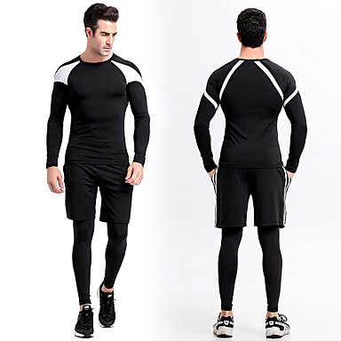 5a231c5d6 Hombre Cuello Barco Retazos Camiseta de running con pantalones ...