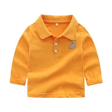 billige Baby Gutter topper-Baby Gutt Grunnleggende Ensfarget Langermet Bomull T-skjorte Rosa