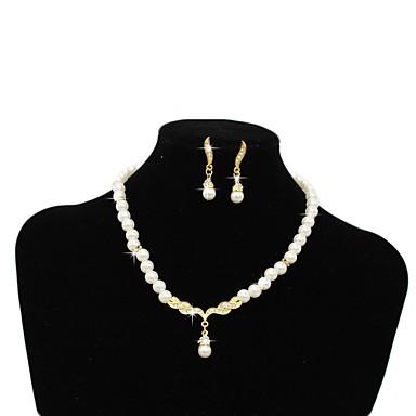 Žene Igazgyöngy nyaklánc Retro Moda Naušnice Jewelry Zlato / Pink Za Dnevno 1set