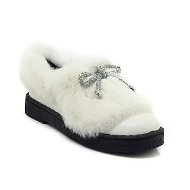 5744e313ff9 Women s Faux Fur   PU(Polyurethane) Fall   Winter Casual   Preppy Loafers    Slip-Ons Flat Heel Round Toe Bowknot White   Black
