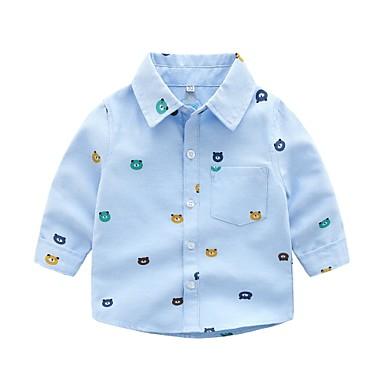 levne Chlapecké topy-Toddler Chlapecké Základní Tisk Dlouhý rukáv Bavlna Košile Vodní modrá