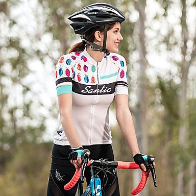 Diligente Santic Per Donna Manica Corta Maglia Da Ciclismo - Bianco Nero Bicicletta Maglietta - Maglia Top Traspirante Gli Sport Terital Ciclismo Da Montagna Cicismo Su Strada Abbigliamento - Elasticizzato #07011905