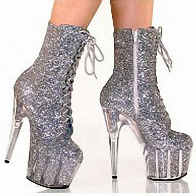 voordelige Dameslaarzen-Dames Laarzen Naaldhak Ronde Teen PU Brits Herfst winter Zwart / Wit / Paars / Bruiloft / Feesten & Uitgaan