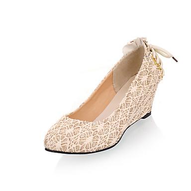 voordelige Dameshakken-Dames Hoge hakken Comfort schoenen Sleehak Ronde Teen Strik Kant minimalisme Zomer / Herfst Goud / Zwart / Amandel