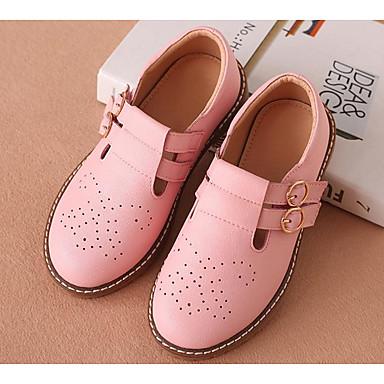33b853c747c Chica Zapatos Cuero Primavera   Otoño Zapatos para niña florista Zapatos de  taco bajo y Slip-On Hebilla para Niños Blanco   Negro   Rosa